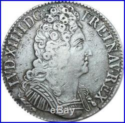 O7754 Rare Ecu Louis XIV trois couronnes 1710 V Troyes Argent -F offre