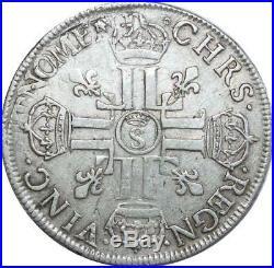 O7757 Rare Ecu Louis XIV aux 8 L Troyes S couronné Argent -F offre