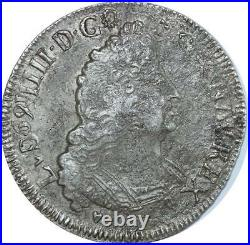 O7760 Rare 1/2 Ecu Louis XIV Palmes 1693 V Troyes Argent Silver -F offre