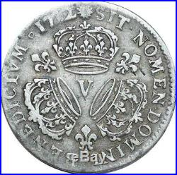 O7764 Rare R2 1/4 Ecu Louis XIV 3 couronnes 1712 V Troyes Argent Silver