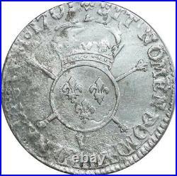 O7765 Rare R2 1/4 Ecu Louis XIV insignes 1701 V Troyes Argent Silver -F offre