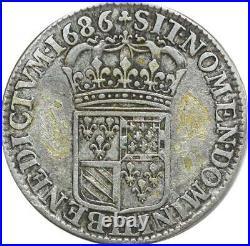 O7766 Rare 1/4 Ecu Louis XIV flandres 1686 LL Lille Argent -Faire offre