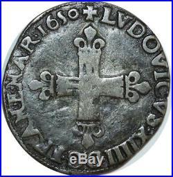 O8466 INEDIT! 1/4 Ecu Louis XIV 1650 L Bayonne année inconnue Argent
