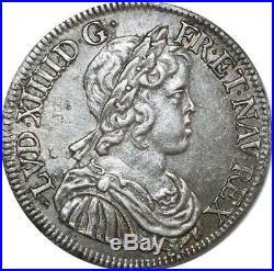 O8490 Rare 1/2 Ecu Louis XIV m courte 1645 A Paris Argent SUP++! -F offre