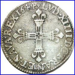 O9711 INEDIT 1/4 Ecu Louis XIV 1644 C Saint Lô Variété LVD Argent -M offer
