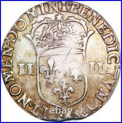 P1268 Rare 1/4 Ecu Louis XIV 1644 X Amiens frappe marteau Argent -Faire offre