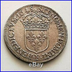 PL LOUIS XIV 1/2 Ecu. Mèche longue 1648 F Angers R4