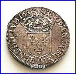 PL LOUIS XIV Ecu. Mèche longue 1648 B Rouen