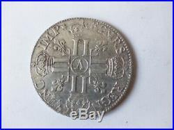 Piece de monnaie argent écu aux 8L Louis XIV 1690 A (27683)