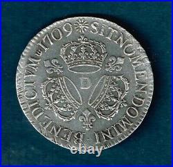 R207p France 1 Ecu Louis XIV 1709 D Argent Rare