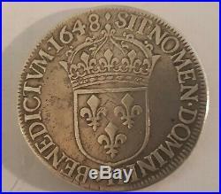 RARE Jolie Louis XIV Ecu à la mèche longue 1648 H La Rochelle R2 Gadoury