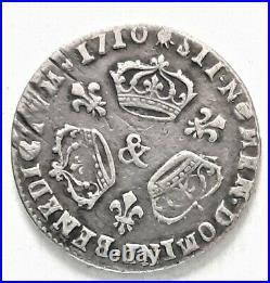 RARE LOUIS XIIII XIV 1/10 DIXIEME ECU 1710 & AIX réformation 2,90 gr
