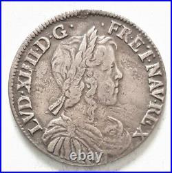 RARE LOUIS XIIII XIV 1/2 DEMI ECU 1651 B Rouen mèche longue 13,37 gr