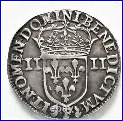 RARE LOUIS XIIII XIV 1/4 QUART ECU 1644 F Angers 9,62 gr