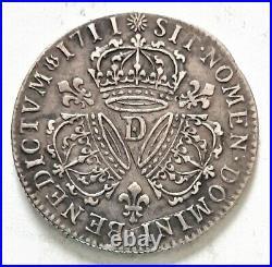 RARE LOUIS XIIII XIV 1/4 QUART ECU 1711 D Lyon 3 couronnes 7,46 gr