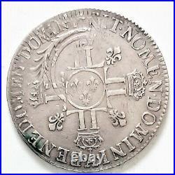 RARE LOUIS XIIII XIV ECU aux 8 L 1704 A 26,94 gr