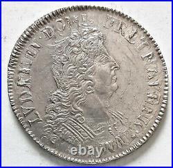 RARE LOUIS XIIII XIV ECU aux insignes 1702 A 27,06 gr