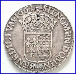 RARE LOUIS XIIII XIV ECU du Béarn 1664 Pau 26,94 gr