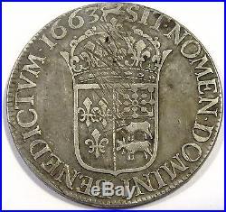 RARE monnaie Louis XIV Ecu du Béarn au buste juvénile 1663 Pau