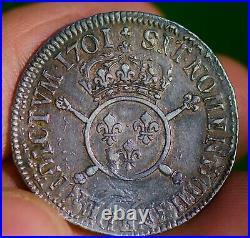 Rare 1/2 écu insignes argent LOUIS XIV atelier Riom O recherché royale lys