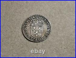 Rare 1/4 Ecu Louis XIV mèche courte 1643 A Paris Argent Silver nouvelles photos