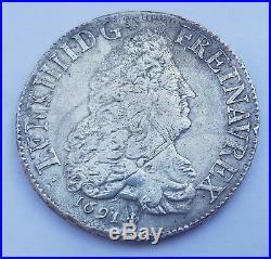 Rare Jolie ÉCU LOUIS XIV Écu aux 8L 1691 M Toulouse