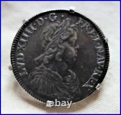Rare Louis XIV argent Demi 1/2 écu à la mèche courte 1643 A rose broche
