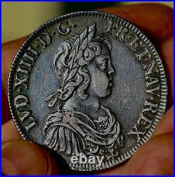 Rare état écu mèche courte superbe Louis XIV LOUVRE Paris Royale argent royal
