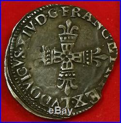 Rareté! Louis XIV 1/4 écu de Bearn 1648 MORLAAS classé R3 exceptionnel
