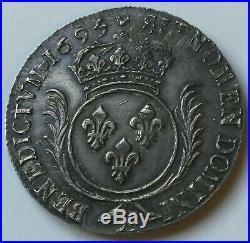 Rareté! Louis XIV écu aux Palmes 1695 X Amiens ARGENT exceptionnel