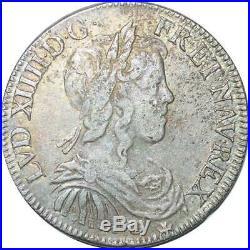 S2340 Rare 1/2 Ecu Louis XIV Mèche Longue 1648/7 B Rouen / C Saint-Lô Argent