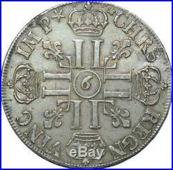 S2350 Très Rare R4 Ecu Louis XIV Aux 8 L 1690 9 Rennes inversé Argent Silver SUP