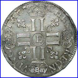 S2352 Rare 1/2 Ecu Louis XIV Aux 8 L 1691 E Tours Argent Silver SUP