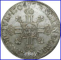 S2356 Rare Ecu Louis XIV Aux 8 L 1704 X Amiens Argent Silver Quasi Superbe ++++