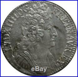 S2364 Rare Ecu Louis XIV Aux 3 Couronnes 1709 A Paris Argent Silver Revers SUP