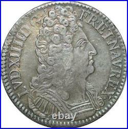 S2367 Rare Ecu Louis XIV Aux 3 Couronnes 1709 B Rouen Argent Silver
