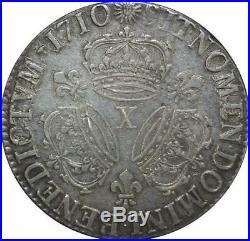 S2370 Rare Ecu Louis XIV Aux 3 Couronnes 1710 X Amiens Argent Silver TTB++