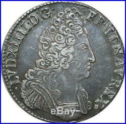 S2371 Rare Ecu Louis XIV Aux 3 Couronnes 1709 T Nantes Argent Silver SUP