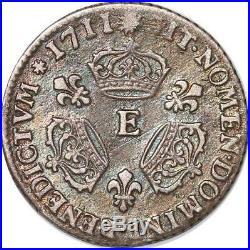 S4419 Rare 1/10 Ecu aux trois couronnes Louis XIV 1711 E Tours Silver M offer