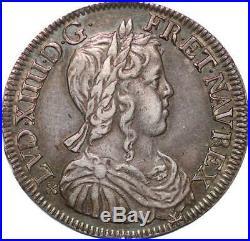 S4426 Rare 1/2 Ecu Louis XIV 1649 F Angers Argent Silver Superbe Faire Offre