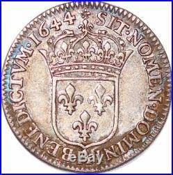 S6179 1/12 Ecu Louis XIV à la mèche courte 1644 A Paris Argent -Faire Offre