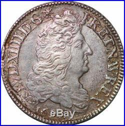 S6199 Rare Louis XIV 1/2 écu aux 8 L 1er type 1690 A Paris Argent Silver