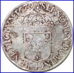 S652 Très Rare Louis XIV écu cravate 1679 9 Rennes Magnifique portrait Argent