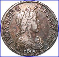 S6521 Rare Louis XIV 1643-1715 ½ écu mèche longue 1649 A Paris Argent Silver