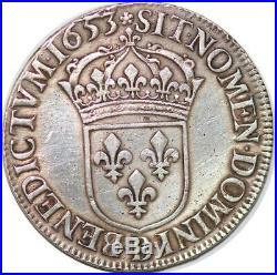S653 Rare Louis XIV 1643-1715 Ecu à la mèche longue 1653 B Rouen Argent SUP