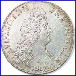S655 France Rare Louis XIV 1643-1715 Ecu aux 8 L 1704 A Paris Argent Silver SUP