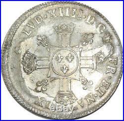 S694 Rare 1/2 Ecu Louis XIV aux 8 L 1702 sur insigné Réformé Argent