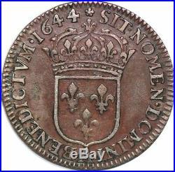 S6988 Rare 1/12ème écu Louis XIV Mèche courte 1644 A Paris Silver SUP SPL