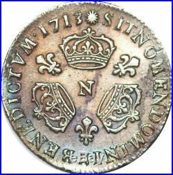 S6990 1/10 Ecu Louis XIV 3 couronnes 1710 N Montpellier Argent Silver TTB+