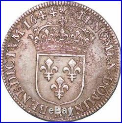 S7036 Rare 1/4 Ecu Louis XIV 1644 A Paris Argent Silver superbe